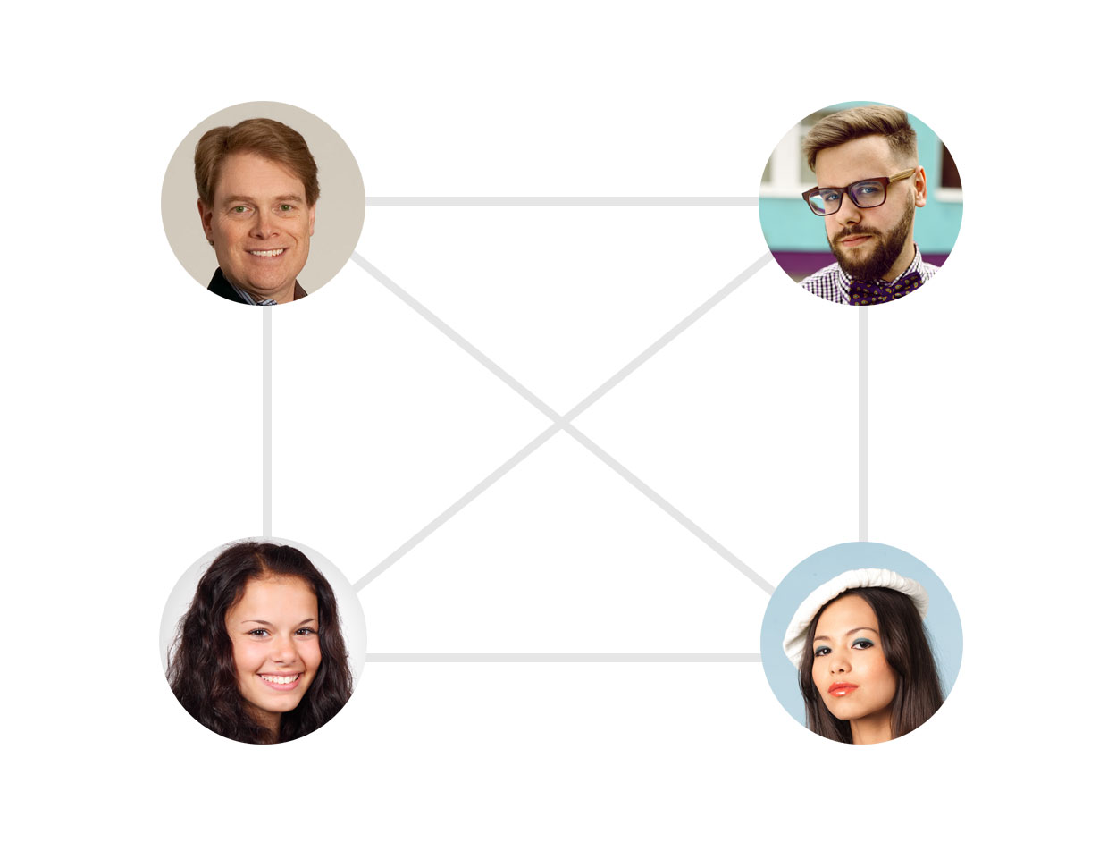 4 people interconnected